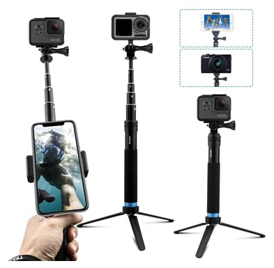 AFAITH Upgraded Pole for GoPro, Aluminum Alloy Selfie Stick Tripod with Stable Stand Waterproof Handheld Monopod