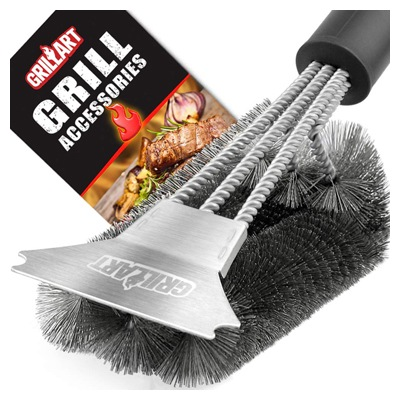 Grill Brush and Scraper - Extra Strong BBQ Cleaner Accessories - Safe Wire Bristles 18