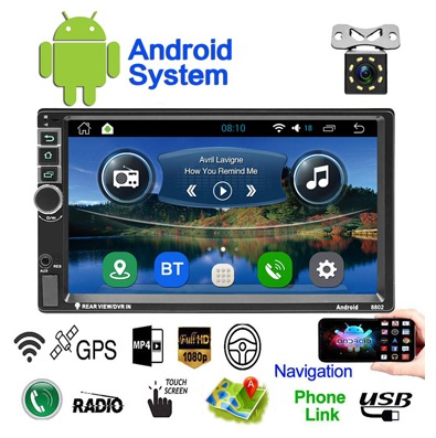 Double Din Android Car Navigation Stereo Standard 1G/16G Car Entertainment Multimedia Radio, Wi-Fi/BT Tethering Internet, GPS (Android with GPS 1G)
