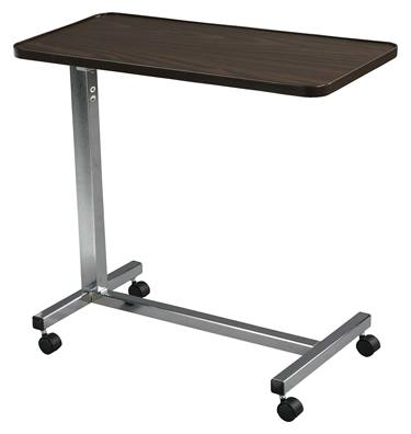 Drive Medical Non-Tilt Top Overbed Table, Chrome