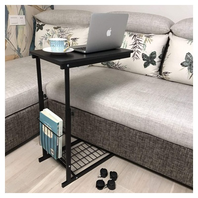 Micoe Height Adjustable with Wheels Sofa Side Table Slide Under Adjustable Console Table