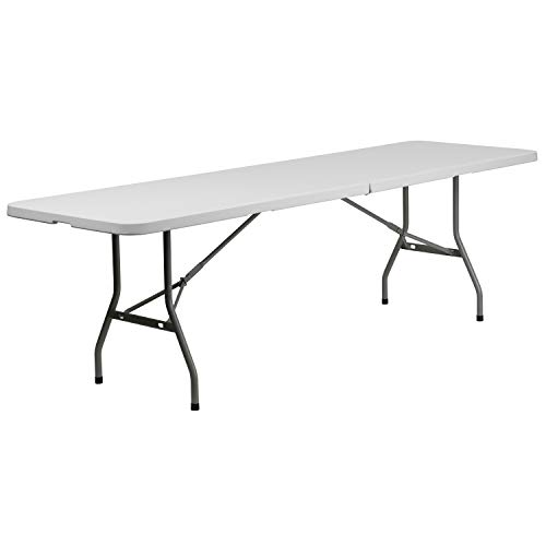 Flash Furniture 8-Foot Bi-Fold Granite White Plastic Banquet and Event Folding Table