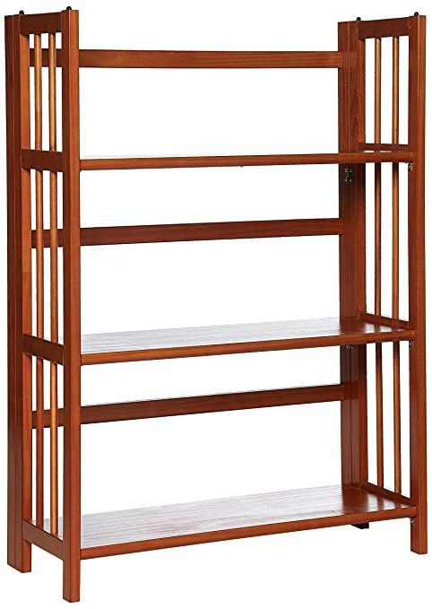 Casual Home 3-Tier Folding Bookcase in Mahogany Finish