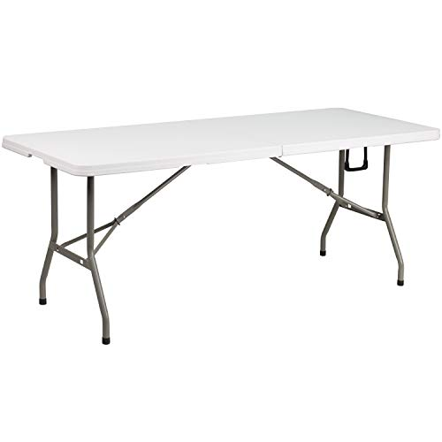 Flash Furniture 6-Foot Bi-Fold Granite White Plastic Banquet and Event Folding Table