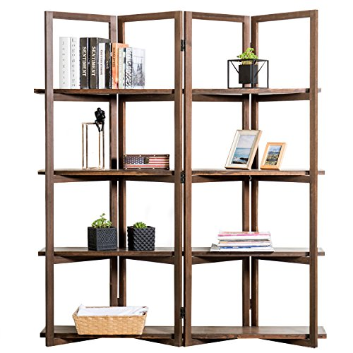 Modern Dark Brown Wood 4-Panel Open Bookcase Room Divider