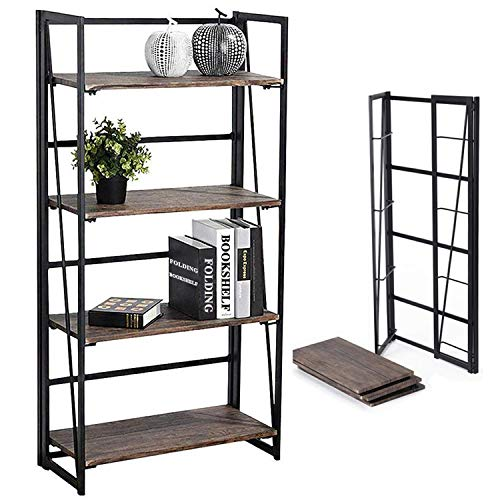 Coavas Folding Bookshelf Home Office Industrial Bookcase