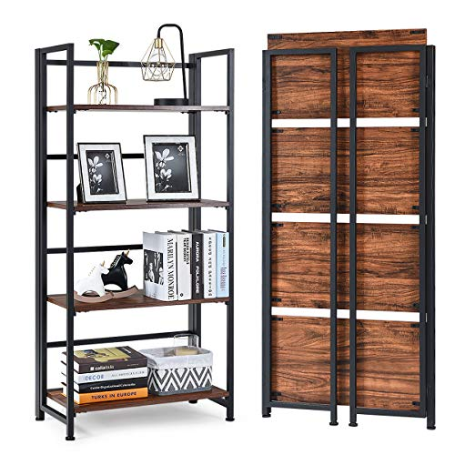 Giantex 4-Tier Folding Bookshelf Standing Shelf Units Display Rack Storage Shelf