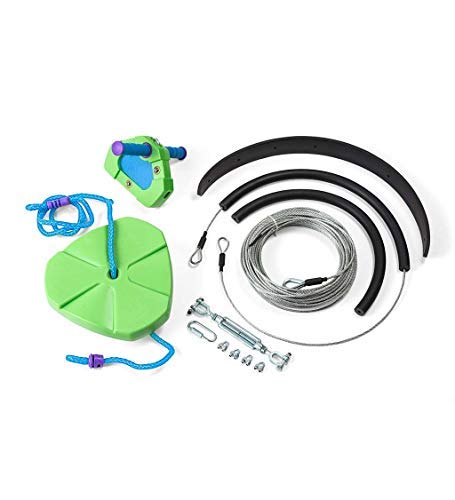 HeathSong Green Kids Backyard Zipline Kit with Adjustable Seat