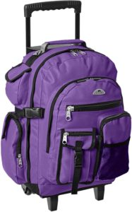 purple wheeled backpack