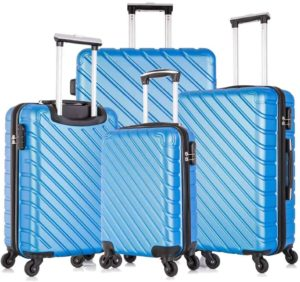 4 blue luggages