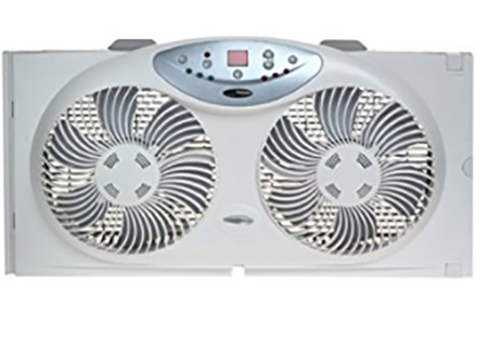 #2. Bionaire Twin Reversible Airflow Window Fan with Remote Control