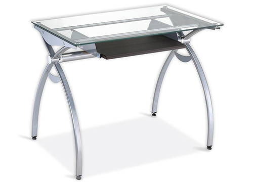 Contempo Clear Glass Top Computer Desk with Pull Out Keyboard Panel.