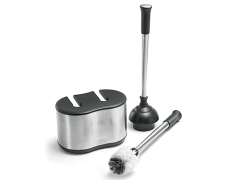 Polder BTH-6300- 95 Stainless-Steel Dual Bath Caddy with Toilet Brush and Plunger