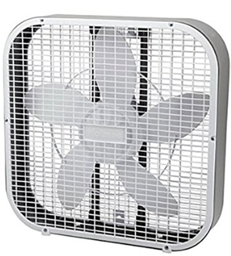 #3. Holmes HBF2010A-WM 21-Inch by 4.5-Inch Box Fan, 3 Speed-Settings, Metal Frame, 20-Inch Blade, White