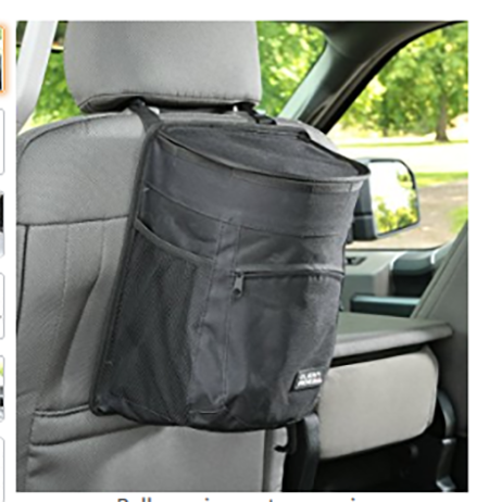 #5. Clean Ridez Car Garbage Can with Flip Open Lid & Vinyl Leakproof and Removable Liner