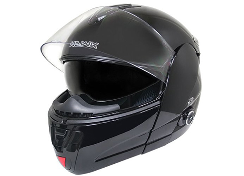 Hawk H-66 Glossy Black Dual-Visor Modular Motorcycle Helmet with Bluetooth: