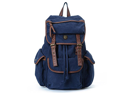 BUG Genuine Leather Trim Multi-function School Canvas Backpack Travel Bags: