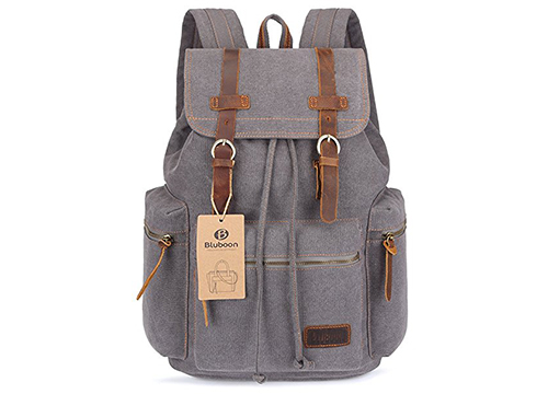 BLUBOON Canvas Vintage Backpack Leather Casual Bookbag Men Rucksack: