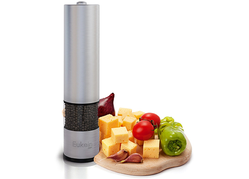Eukein Electric Pepper Grinder or Salt Grinder Mill, Battery Operated with Light at Bottom: