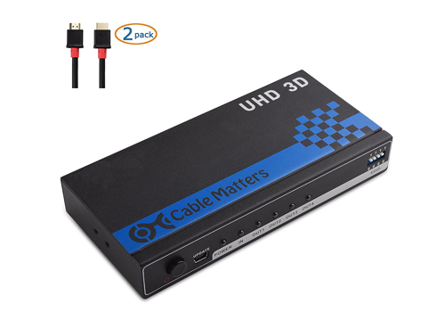 Cable Matters 4-Port HDMI Splitter Supporting 4K