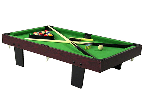 Sunnydaze 36-Inch Mini Tabletop Pool Table with Triangle, Balls, Cues, Chalk, and Brush